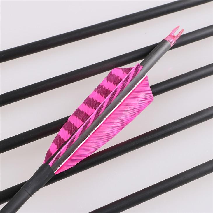 6 pieces pink black combination fletching pure carbon fiber arrow spine 400 inner diameter 6.2mm