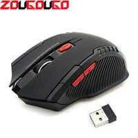 Ratón inalámbrico de 2,4 GHz con receptor USB para jugadores, Mouse de 2000DPI para ordenador, PC y portátil