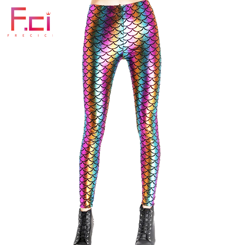 2018 Women Sexy Mermaid Rainbow Scale Shiny Leggings Workout Push Up Fitness Sexy 3D Print Mermaid Fish Scale Women  Leggings