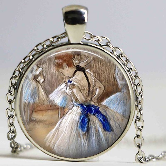 Ballet necklace by edgard degas custom pendant ballet gift for ballet necklace by edgard degas custom pendant ballet gift for dancer ballerina art cabochon glass pendant aloadofball Images