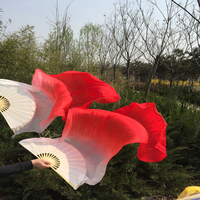 New Arrival 6ft size 1pair=1L+1R 100% real silk fan veils for bellydancing profession silk dancing fan veil,factory price