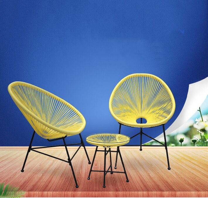 15% LK578 3 pcs Balcon Café Table et Chaises Set Creative Respirant Lune Chaise Lourd Chargement En Plastique Fil + acier meubles de Patio Ensemble