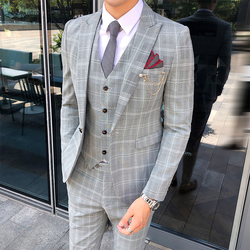 YUNCLOS 2019 New Arrival Men Suit 3 Pieces Classic Plaid Suits Men Business Wedding Suits Slim
