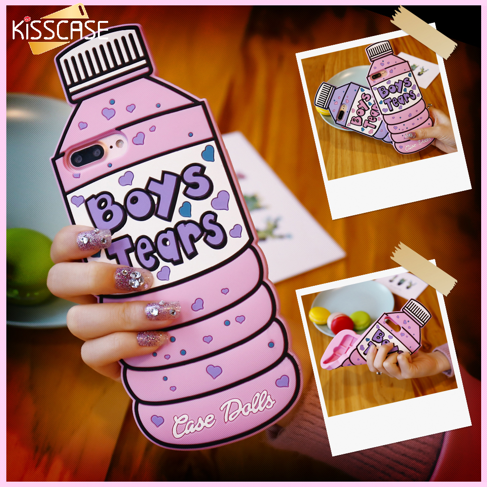 Kisscase dulce rosa botella teléfono case para apple iphone 7 7 plus para iphone