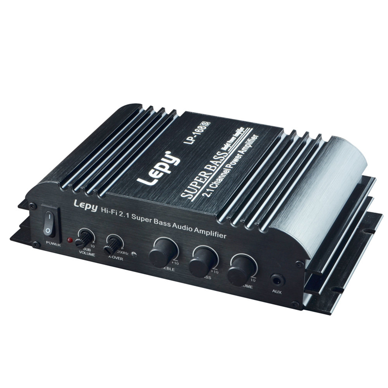 LP-168S 2.1 Channel Car Amplifier 3.55MM Audio Wired 168S Mini Hi-Fi Stereo Bass Output Power US plug
