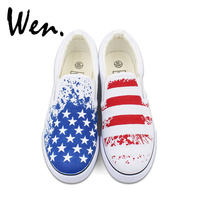 Wen Original Design American USA Flag Hand Painted Canvas Shoes Unisex Custom White Slip On Sneakers