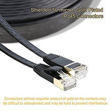 Câble Ethernet plat Cat7 de 2m et 6 pieds, blindé (STP) avec connecteurs Rj45 sans accroc