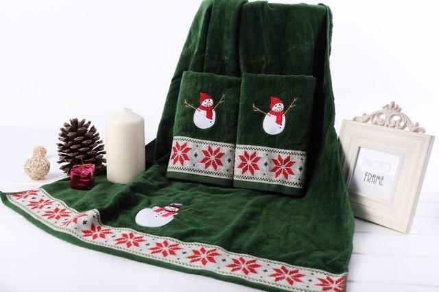 Borduren Op Badstof.Decoratieve Luxe Katoenen Handdoeken Sets Kerstboom Borduren Gezicht