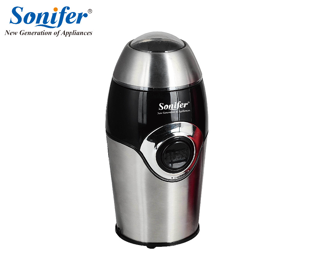 220V Mini Electric Coffee Spice Grinder maker Stainless Steel Beans Mill Herbs Nuts Sonifer electric coffee grinder coffee maker with coffee beans mill herbs nuts moedor de cafe 220v home appliances for home