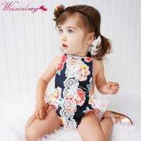 Nova roupa dos bebés Recém-nascidos meninas florais do vintage macacão estilo de Alta Qualidade crianças natal roupas boutique venda quente romper
