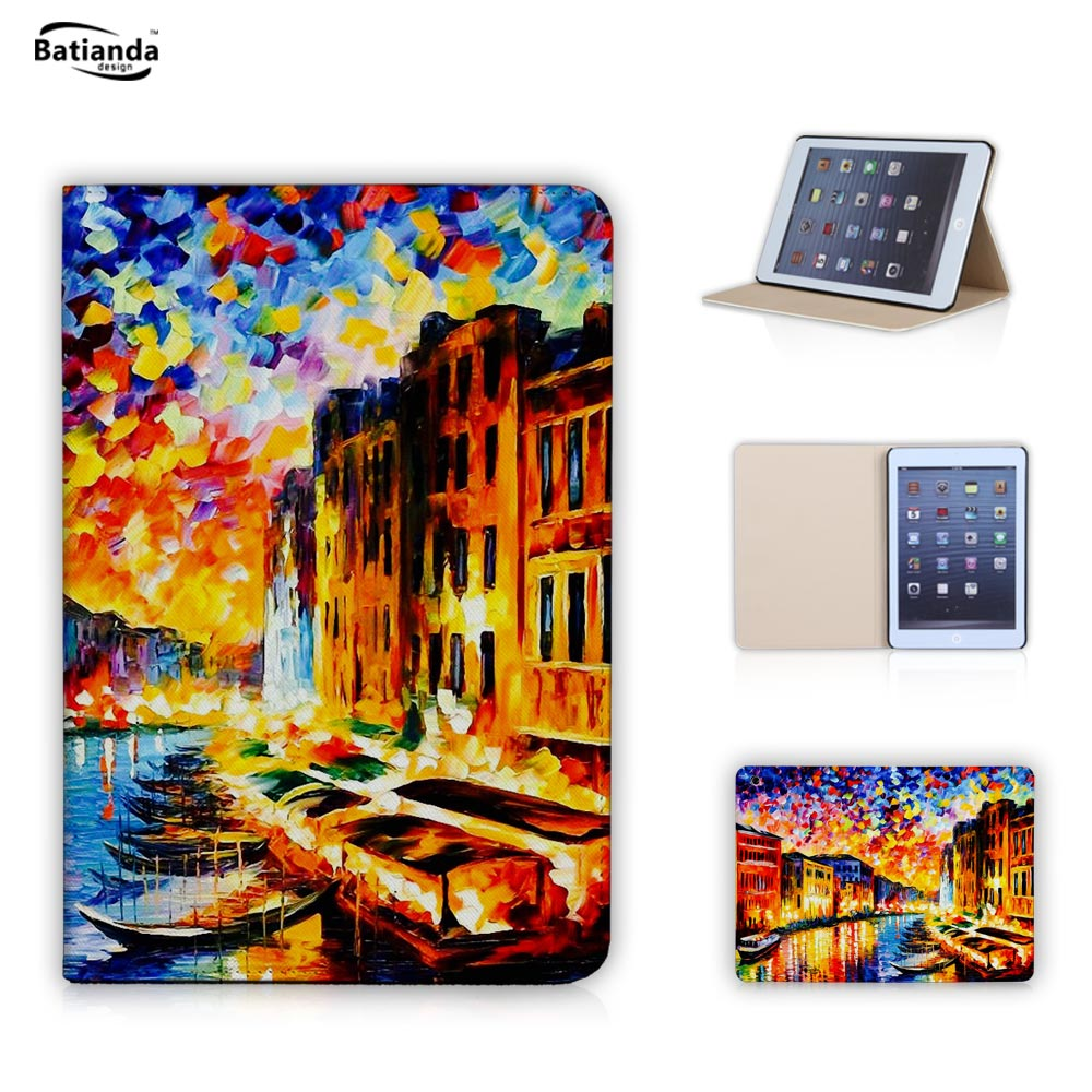 Oil painting Eiffel Tower Pattern Leather Flip Stand Style Smart Cover with PC Hard Back case for iPad Mini 2 3 with Screen Film