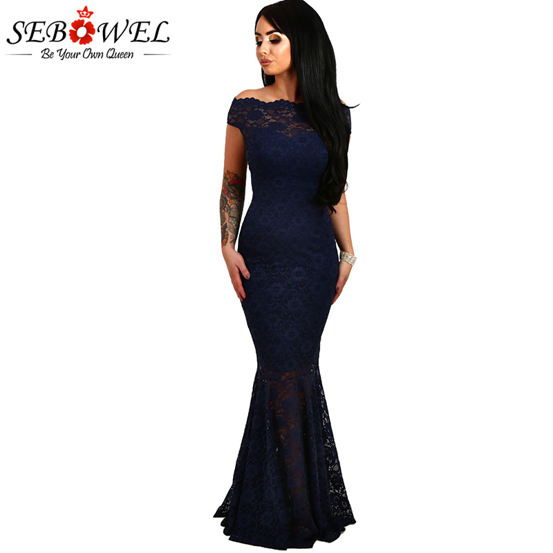 SEBOWEL Sexy Formal Black Bardot Lace Fishtail Maxi Dress Women Off  Shoulder Party Long Dresses Female Gowns Vestidos De Fiesta d9ede6c0f