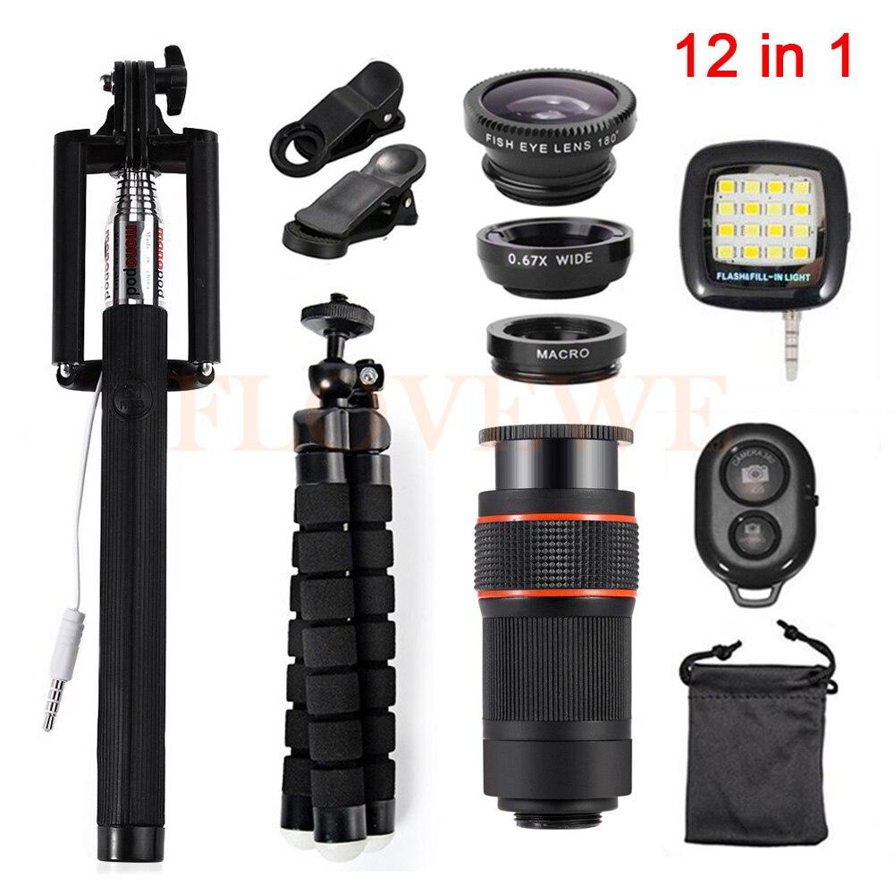 2017 All in1 Mobile Lens Kit 8x Zoom Telephoto Lenses Telescope Fisheye Wide Angle Macro Lentes