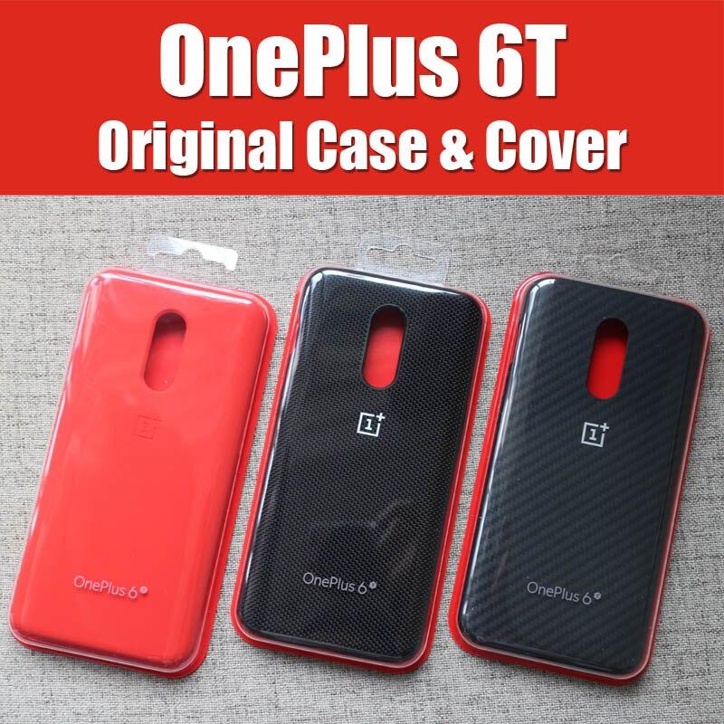A6013 étui officiel OnePlus 6t original 1 + 6T OnePlus 6 sur mesure en Silicone grès Nylon Karbon pare-chocs en cuir