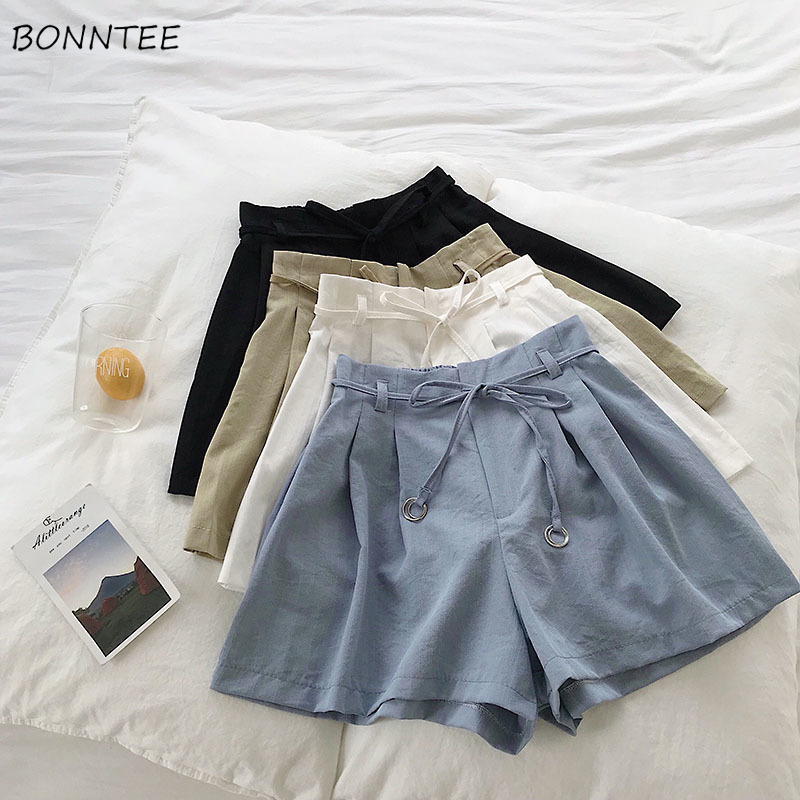 Shorts Women Chic Drawstring High Waist Elegant Solid Color Womens Simple  All-match Leisure Comfortable Ladies Thin Breathable