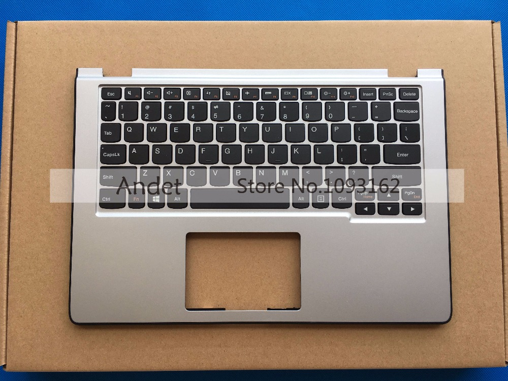 95 New Original Laptop Palmrest For Lenovo Yoga 2 11 Palmrest Upper Case + US Keyboard Silver 90204958 90204983