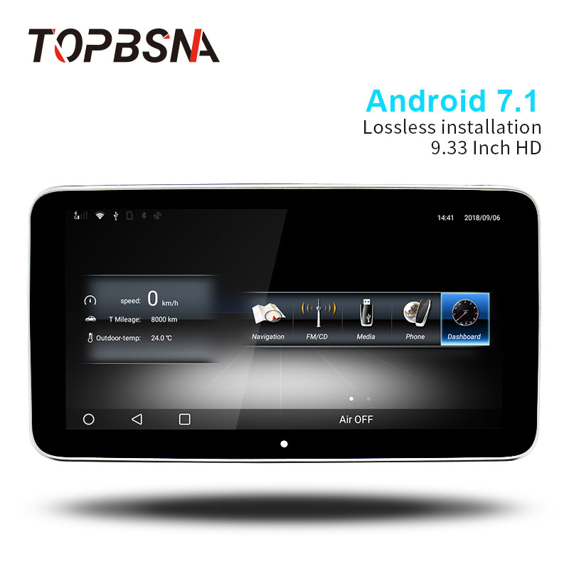 TOPBSNA IPS HD DELLO SCHERMO di 9.33 pollice Android 7.1 Lettore DVD Dell'automobile Per Mercedes Benz GLA CLA A/B CLS 2015-2018 Automotive stereo 4g WIFI