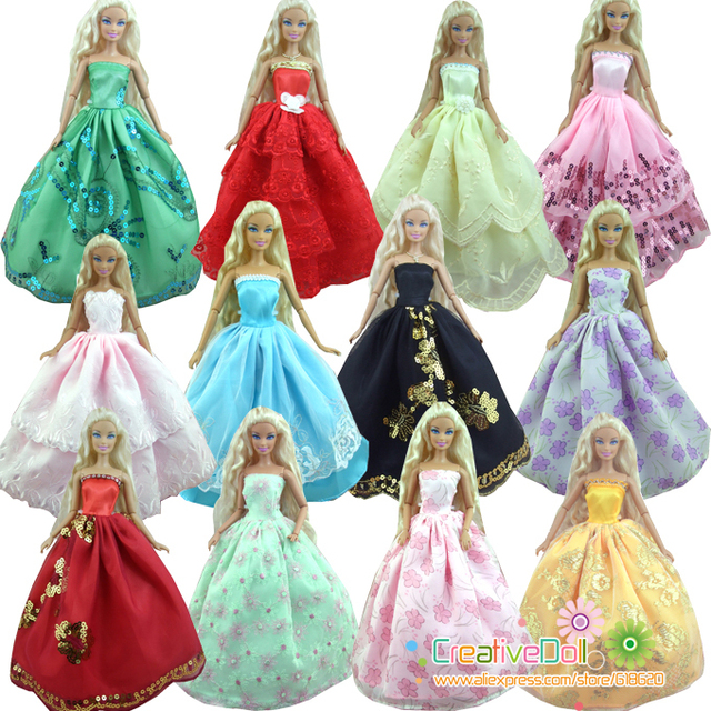 30 Items = 10 Wedding Dress Princess Gown +10Pairs Shoes + 10 accessory Clothes For Barbie Doll Baby GIFT Toy