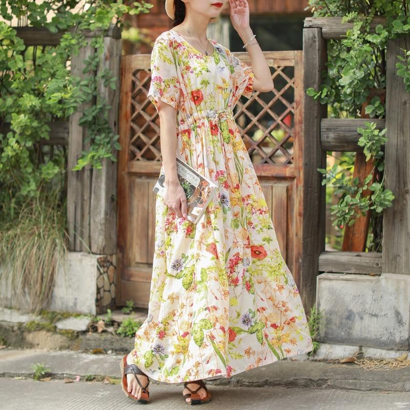 Hisenky Summer Dress Women Short Sleeves Long Dress Bohemian Dress Tencel Cotton Linen Loose Dress Floral Vintage Femal Robe
