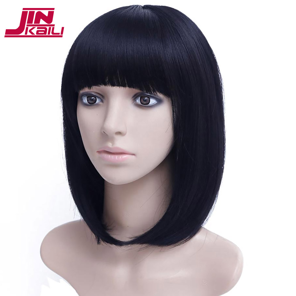 JINKAILI WIG Short Black Bob Wigs with Bangs for Women Cheap Synthetic Hair Short Costume Cosplay Wigs