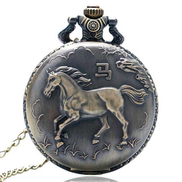 Vintage Bronze Running Horse Quartz Pocket Watch Clock Women Men Necklace Pendan