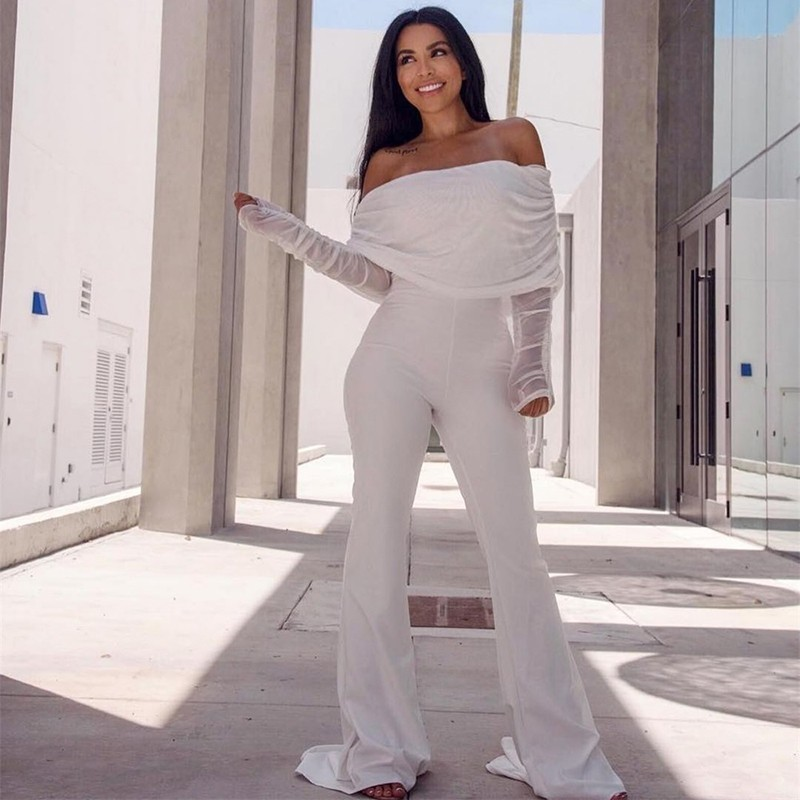 Ohvera Kendall Jenner Off Shoulder White Summer Rompers Womens Jumpsuit Elegant Sexy Long Jumpsuits For Women 2018 Overalls Платье