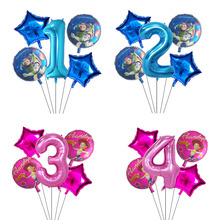5pcs Toy Buzz Lightyear Story Balloons Cartoon Foil Helium 30 Inch Number Blue Happy Birthday Kids Toys Ball