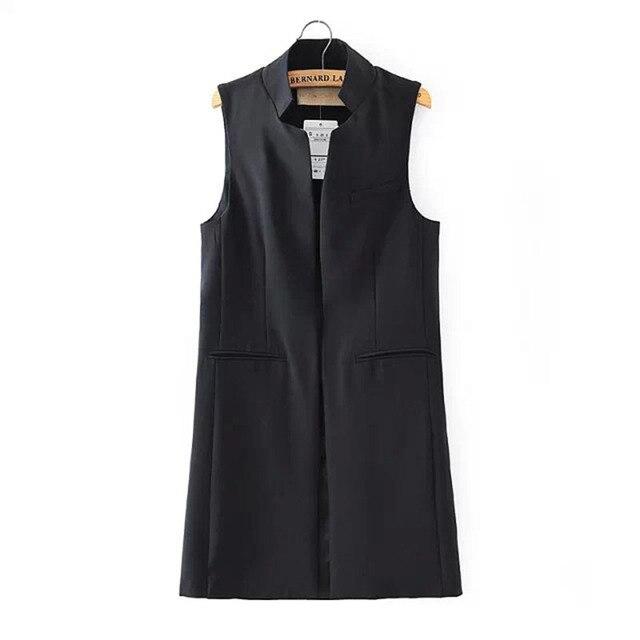 Европейский Стиль без рукавов Для женщин длинный жилет пальто куртка Женский назад Разделение верхняя одежда Повседневный жилет пальто 2016
