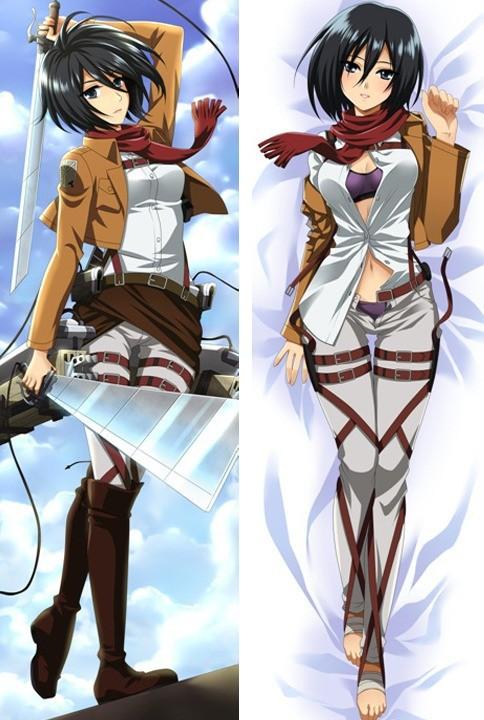 Anime Dakimakura Attack on Titan Mikasa Otaku Hug Body Pillow Case Cover