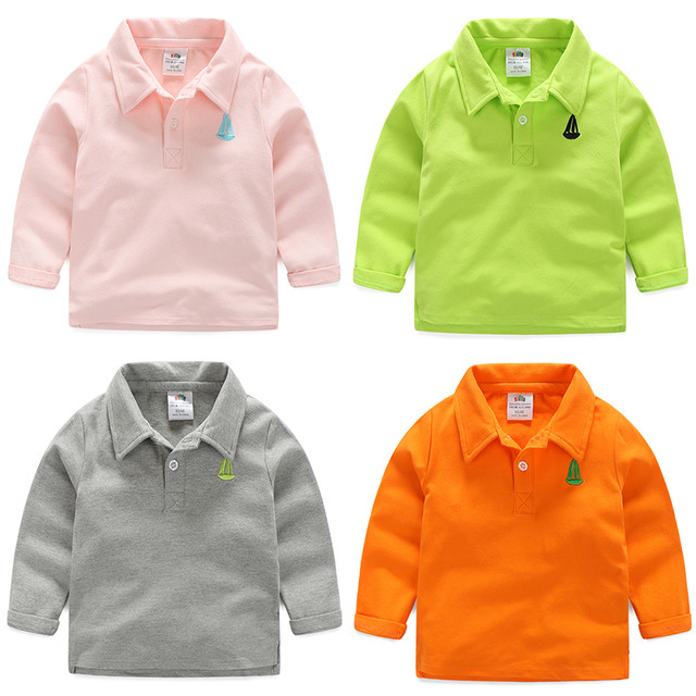 Baby boy girl solid color t-shirt 2016 spring autumn kids casual long-sleeve turndown collar tops children's clothing