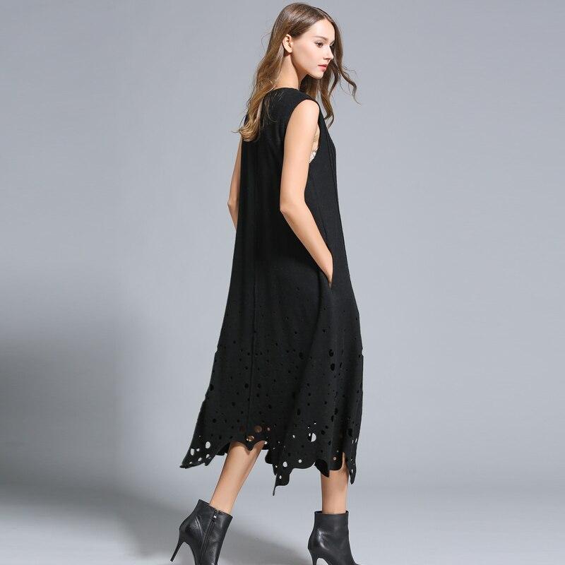 Sonbahar kış elbiseler kadın Kolsuz Hollow out Uzun Gevşek tarzı - Bayan Giyimi - Fotoğraf 6