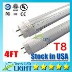 Stock in USA 4ft 22W T8 Led Tube Light 2400lm AC 85-265V Cool white 60000K Led lighting Fluorescent Tube Lamp 1.2m LED tubes