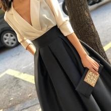 Новое поступление, белое черное вечернее платье с v-образным вырезом, короткое, простое вечернее платье es abiye, недорогие вечерние платья