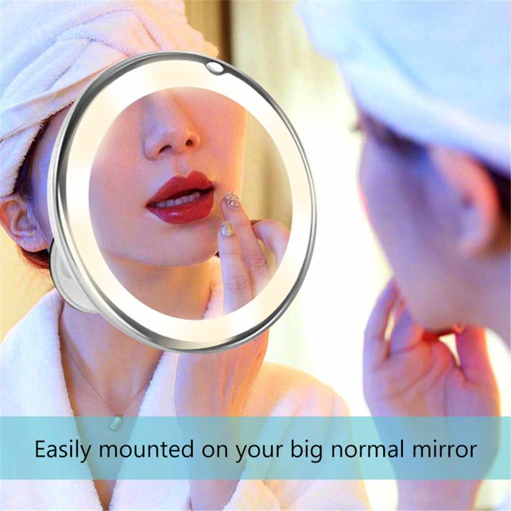 LED Lighted Makeup Mirror Flexible Compact 10X Magnifying Glasses Makeup Cosmetic Mirror Locking Suction Cup LD