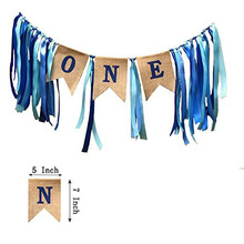1st Birthday Decorations,Baby Boys First Banner,Burlap Highchair Banner for boy girl Decorations