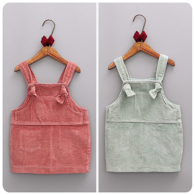Coreano Muchacha de Los Niños Ropa 2016 Otoño Nuevo Producto Correa de Niña de Color Sólido Falda de Una Falda de Una Línea Falda Camisola