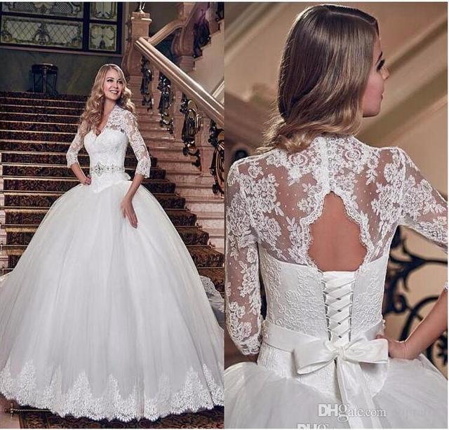 Aliexpress.com : Buy 2017 Elegant Lace Wedding Dresses Long ...