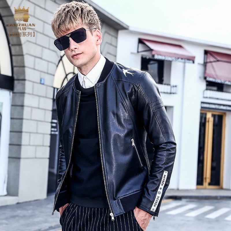Fanzhuan Libero di Trasporto del Nuovo degli uomini di Sesso Maschile moda casual uomo Berretto Da Baseball ricamato collare di cuoio del Motociclo giacca 2017 cappotto 710041