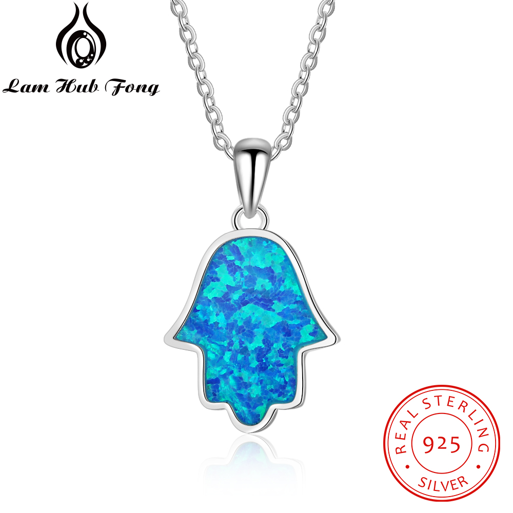 Hamsa Hand Pendant Necklace for Women Blue Fire Opal Fatima Hand 925 Sterling Silver Necklace Amulet Women Jewelry(Lam Hub Fong)Hamsa Hand Pendant Necklace for Women Blue Fire Opal Fatima Hand 925 Sterling Silver Necklace Amulet Women Jewelry(Lam Hub Fong)