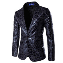 Men's Casual Boutique Nightclub Party Leopard Suit / Male European American Style One Button Personalized Print Blazer Coat(China)