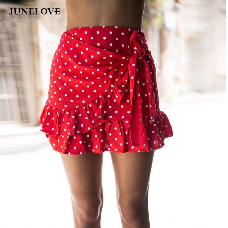 JuneLove 2018 summer dot print mini women skirt ruffle drapped bohemian ladies skirt bow sexy beach female skirts