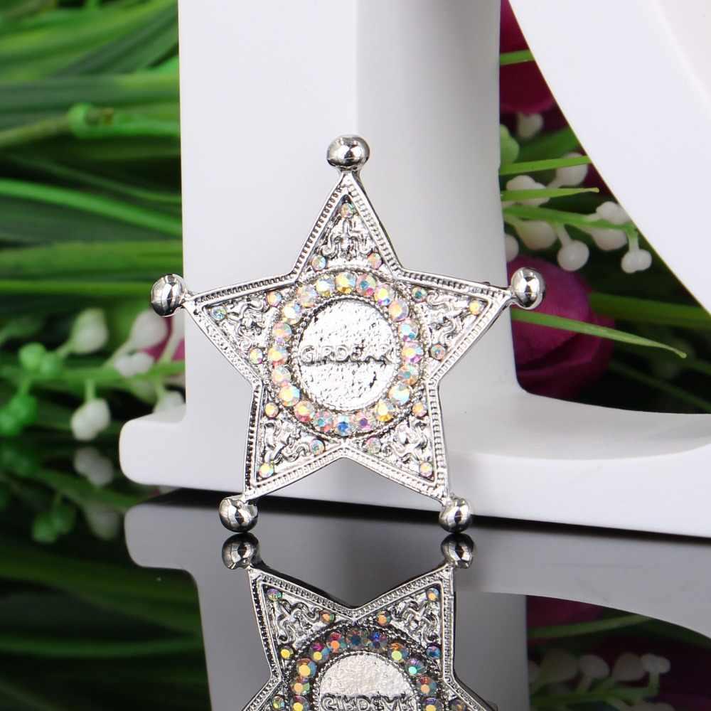 Sederhana Pentagram Bros Perhiasan untuk Wanita/Pria Fashion Perhiasan Bros Pin Logam Syal Pernikahan Hadiah DIY Perhiasan Aksesoris