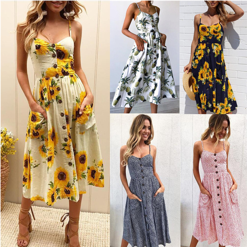 Summer Sexy Beach Long Boho Women's Dress Strap Print Floral Casual Loose Plus Size Robe Femme Midi Dress Elegant Sundress