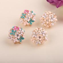 Новый Корейский Four Leaf Позолоченные Цветочный Кристалл Серьги Белый/Черный/Розовый Бесплатная Доставка