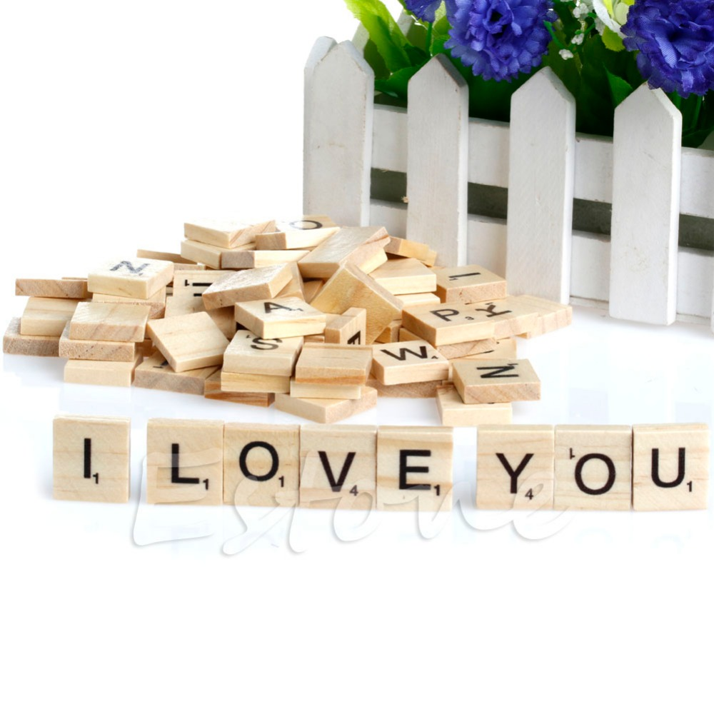 Small tiles for crafts - 100 Wooden Alphabet Scrabble Tiles Black Letters Numbers For Crafts Wood New