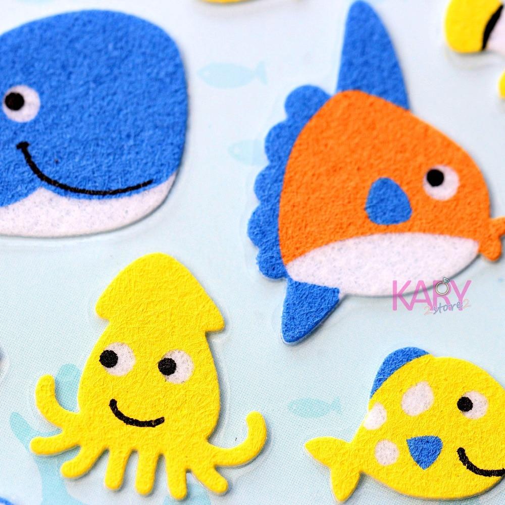 Sea Animals Clown Fish Whale Octopus Sponge Stickers Scrapbooking Phone Fashion Craft Kawaii Emoji Reward Kids Toys For Children