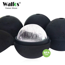 WALFOS 2 pieces Whisky Round Ice Cube Ball Molds - Food Grade Silicone large Whiskey cube Sphere Maker Mold for wine barware
