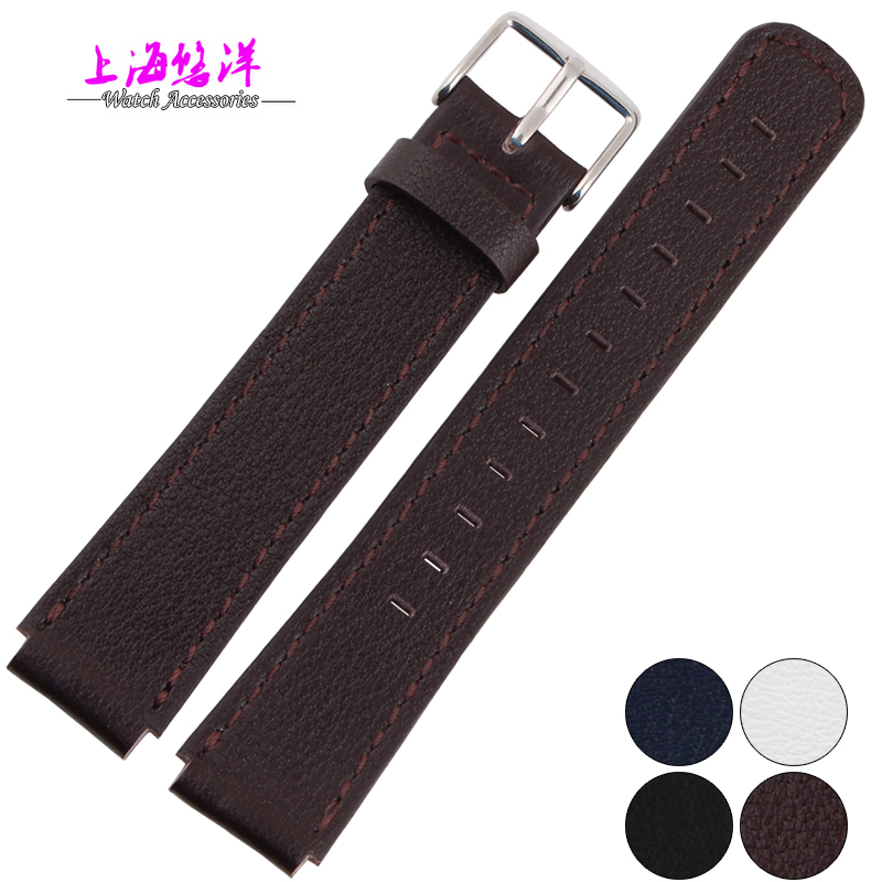 Waterproof genuine leather watch strap for sporty style 18 15mm black blue white brown