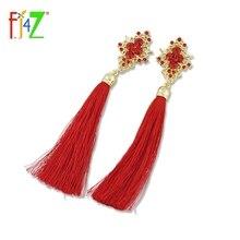 F. J4Z nueva manera caliente de Bohemia elegante Azul Rojo Rhinestone borla pendiente mujeres pendientes declaración joyería aretes joyeria