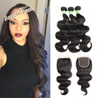 ANGEL GRACE Hair Bundles Brazilian Body Wave Hair 3 Bundles With Closure 100% Remy Human Hair Weave Bundles With Lace Closure